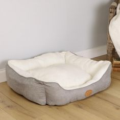 Giant French Grey and Snow Cream Grey Plush Cosy Dog Bed