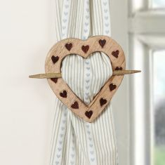 Rustic Wooden Heart Curtain Tie Back