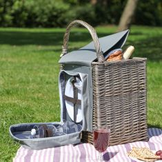 Light Wash Wicker Picnic Basket for Two