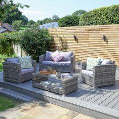 Grey Rattan 4pc Garden Furniture Set