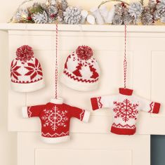 Knitted Christmas Bauble Tree Decorations
