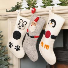 Fair Trade Hand Felted Wool Character Stockings