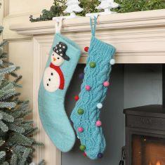 Fun Blue Fair Trade Hand Knit Stockings