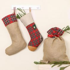 Highland Jute Plaid Biodegrable Christmas Stockings and Sacks