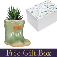 Personalised Small Green Wellington Planter