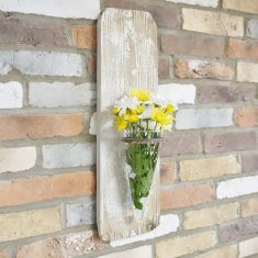 Wall Mounted Wooden Flower Vase