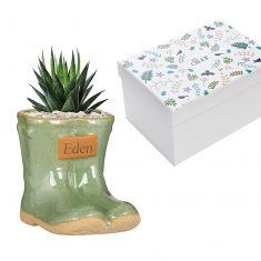 Personalised Small Green Wellington Planter