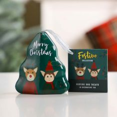 Dog Dental Hygiene Treats in Christmas Tree Tin