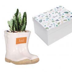 Personalised Small White Wellington Planter
