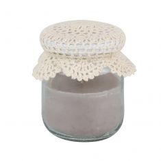 Grey Jam Jar Candle with Crochet Lid