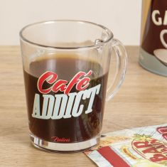 Café Addict Glass Coffee Mug