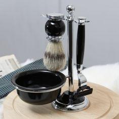 Black Mach 3 Shaving Set with Shaving Brush and Bowl