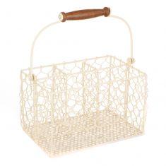 Cream Chicken Wire Cutlery Caddy Basket
