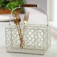 Country Cream Chicken Wire Cutlery Caddy Basket