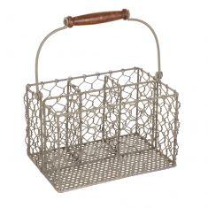 Grey Chicken Wire Cutlery Caddy Basket