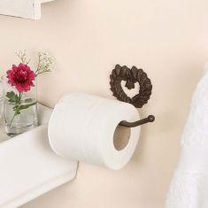 Isabelle Antique Brown Heart Toilet Roll Holder