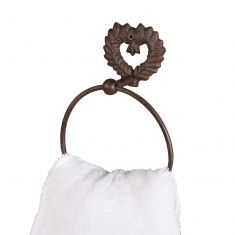Isabelle Antique Brown Heart Shaped Towel Ring