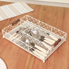 Country Cream Wire Cutlery Rack
