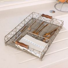 French Grey Chicken Wire Cutlery Tray