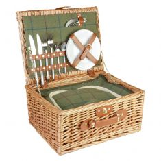 Green Tweed Two Person Picnic Hamper