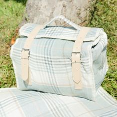 Luxury Sky Blue Tartan Picnic Cooler Bag