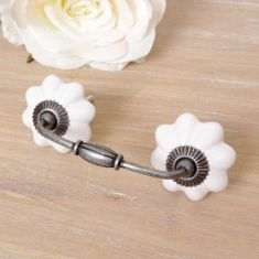 Vintage White Twin Drawer Handle