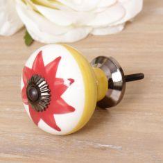 Red Flower Ceramic Drawer Pull