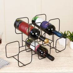 5 Section Contemporary Black Wire Wine Rack
