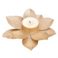 Golden Glitter Flower Tealight Candle Holder
