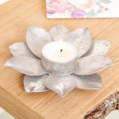 Silver Glitter Flower Tealight Candle Holder