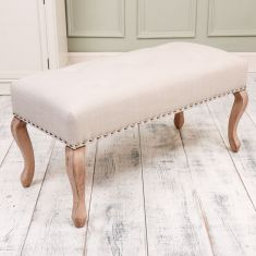 Linen French Style Upholstered Bench Seat