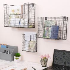 Set of 3 Wall Mounted Wire Storage Baskets