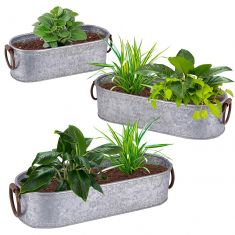 Set of 3 Galvanised Oval Planters