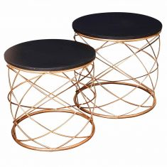 Set of 2 Wire Frame Gold Tables