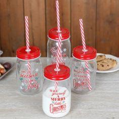 Set of 4 Christmas Mason Jar Glasses