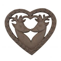 Heart Shaped Kissing Deer Trivet