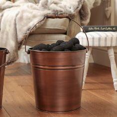 Brushed Copper Coal Bucket