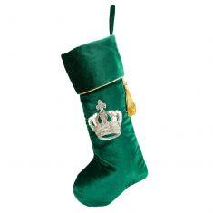 Traditional Green Velvet Crown Christmas Stocking