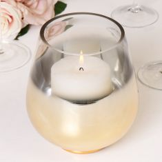 Gold Base Hurricane Candle Holder