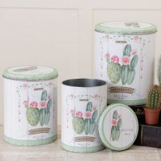 Set of 3 Cactus Metal Storage Tins