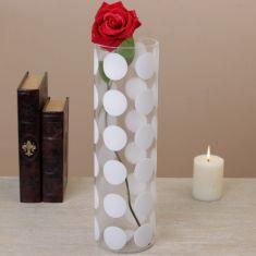 Tall Glass Polka Dot Vase