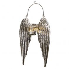 Silver Wall Mounted Angel Wings Tealight Holder