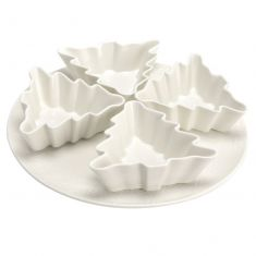 Large Ceramic Platter with 4 Christmas Tree Serving Bowls