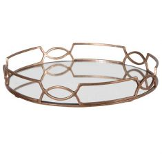 Gold Scroll Mirrored Tray