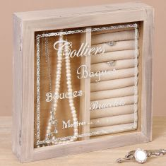 Wooden Etched Glass Jewellery Box
