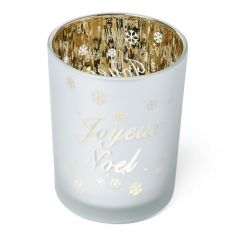 Large Joyeux Noel Frosted Glass Christmas Candle Holder