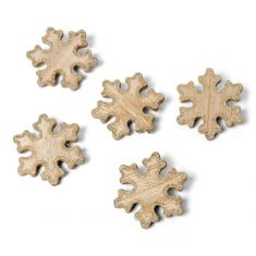 Set of 5 Wooden Snowflake Christmas Decorations