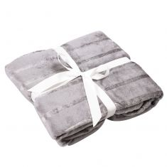 Silver and Grey Striped Throw Blanket