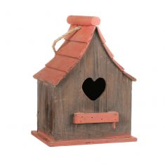 Red Roof Wooden Hanging Bird House