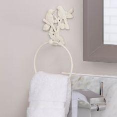 Ivory Garden Birds Towel Ring